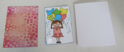 Girl card with papers