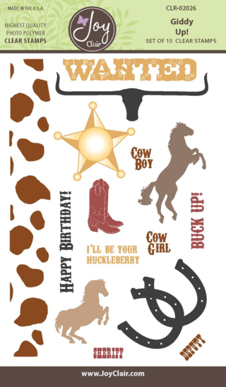 JC CLR 02026 Giddy Up Clear Stamp packaging