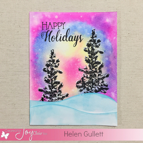 Watercolored Happy Holiday with Joy Clair Stamps & Tombow Dual Brush Pens