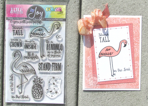 Flamingo card with stamp set