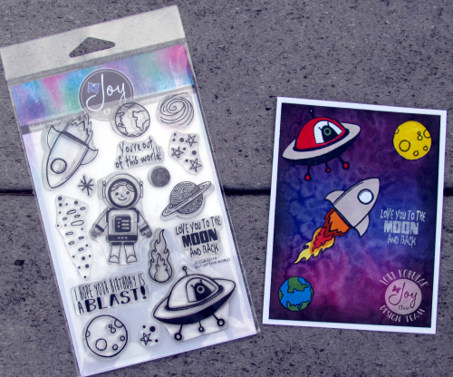 Space card with stamp set