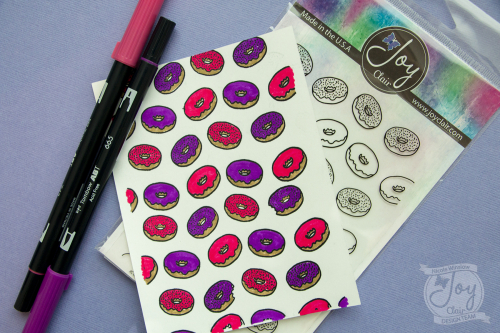 Card making day joy clair donut background stamp